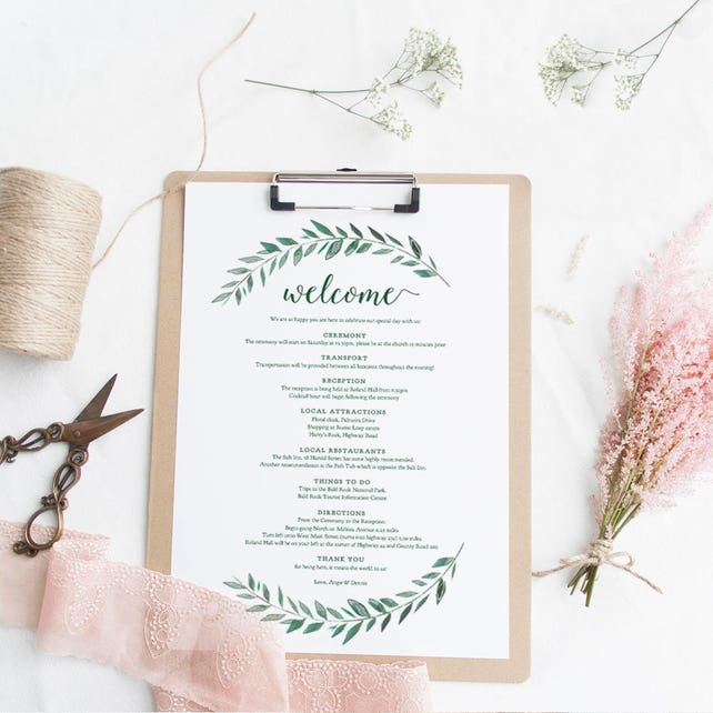 green welcome itinerary wedding guest welcome letter template emerald green gardens printable wedding welcome letter edit