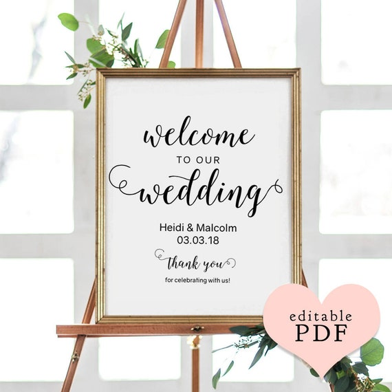 Welcome wedding sign templates, 5 sizes: 8x10, 18x24, 24x36, A1 and A2. PDF templates. Easily edit in Acrobat Reader.