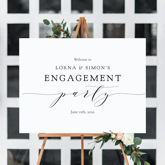 "Engagement Party Sign, DIY Printable Welcome to Engagement Sign, type your names, ""Wedding"" Printable Sign 18x24"" & 24x36"", Corjl FREE Demo"