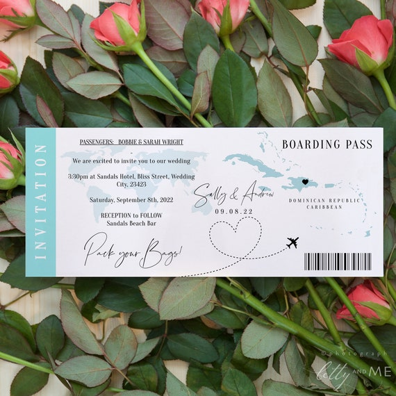 Destination - Caribbean Boarding Pass Wedding Invitation, Anywhere in the Caribbean Invitation Template, Corjl Templates, FREE Demo