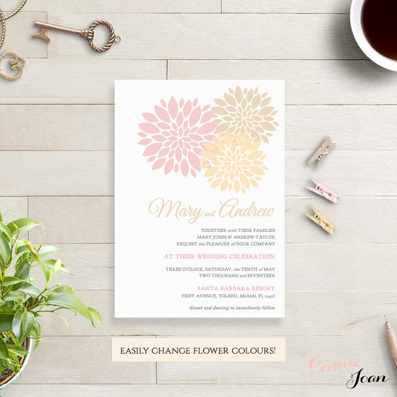 champagne pink gold wedding invitation template printable etsy