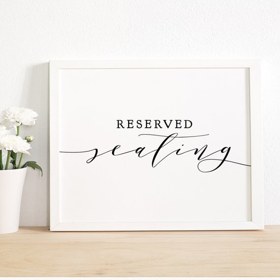 "Reserved Seating Sign, Printable Reserved Sign 8x10"", ""Wedding"", Download and Print"