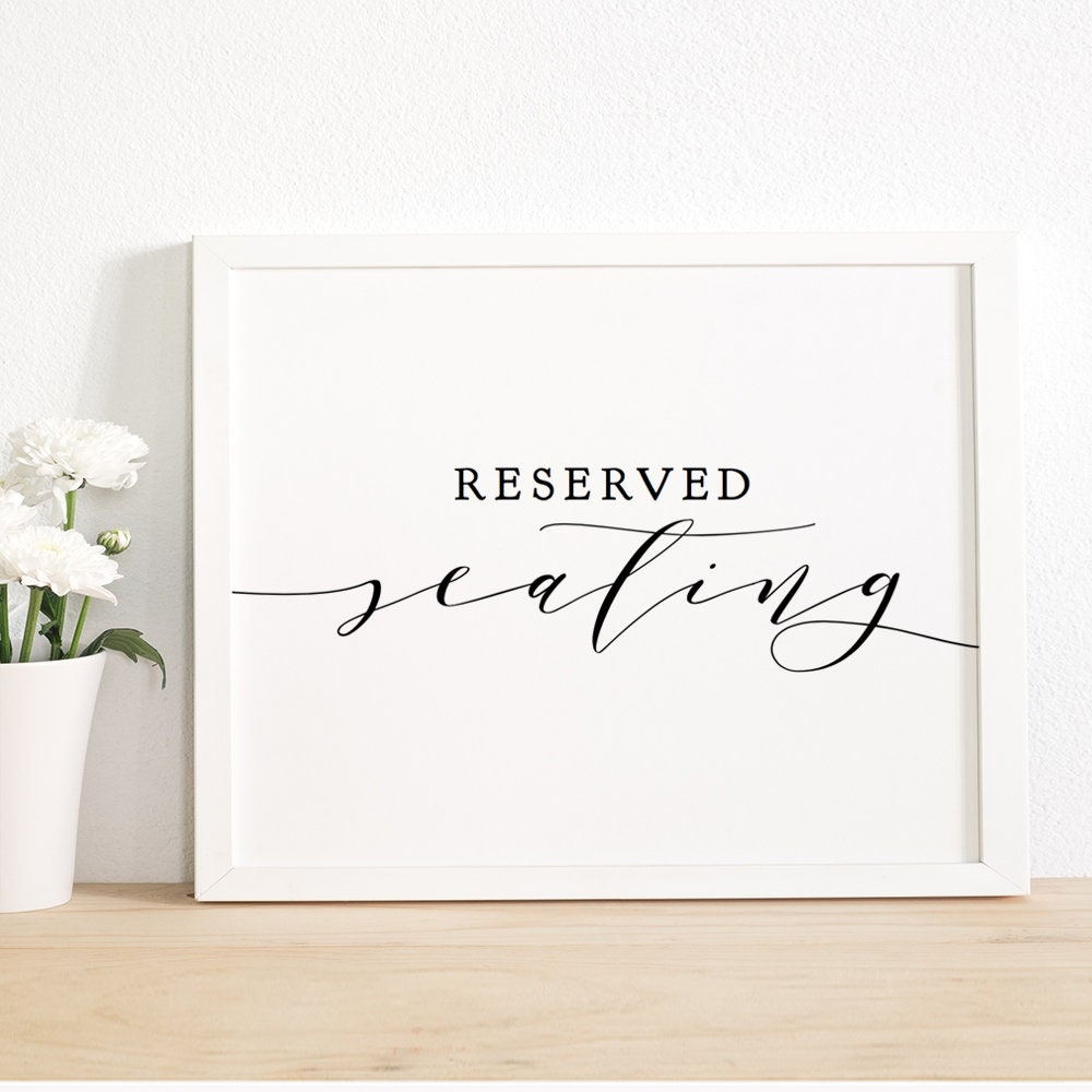 picture relating to Printable Reserved Sign identify Reserved Seating Indicator, Printable Reserved Signal 8x10, Marriage ceremony