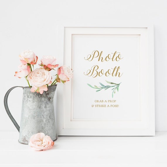 "Photo Booth Sign Printable Photo Booth Grab a Prop and Strike a Pose! Sign, Wedding Signage, 8x10"". ""Greenery"" Download and Print"