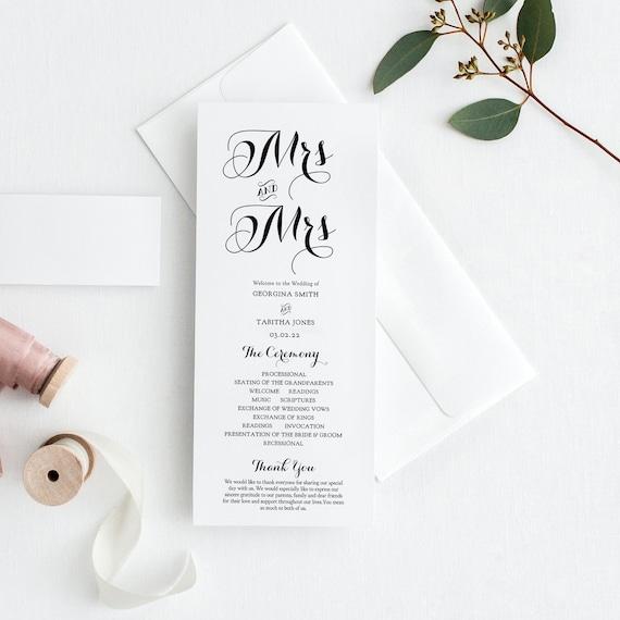 Mrs and Mrs Wedding Programs, Printable Wedding Program, includes Mr and Mrs, Mrs and Mrs, Mr and Mr, Wedding Order of Service Corjl 'BYRON'