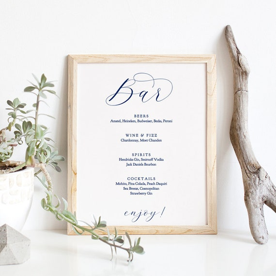 "Navy Bar Menu, Printable Bar Menu Wedding Sign ""Beautiful"" 8x10"" Editable PDF"