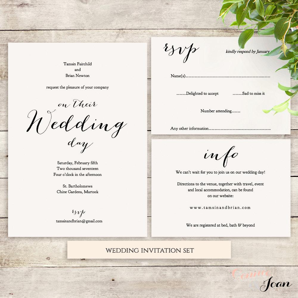 wedding invitation set template instant download invitation