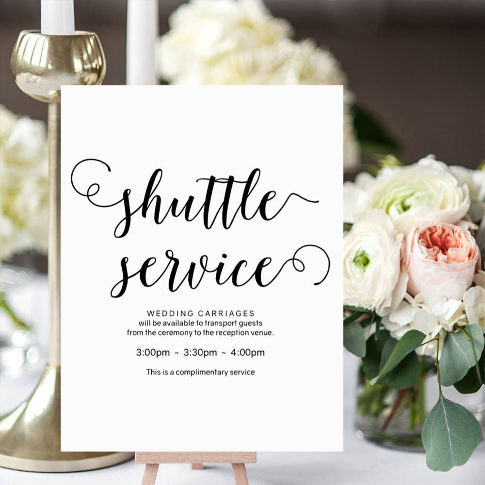Shuttle service sign, wedding carriages sign, printable