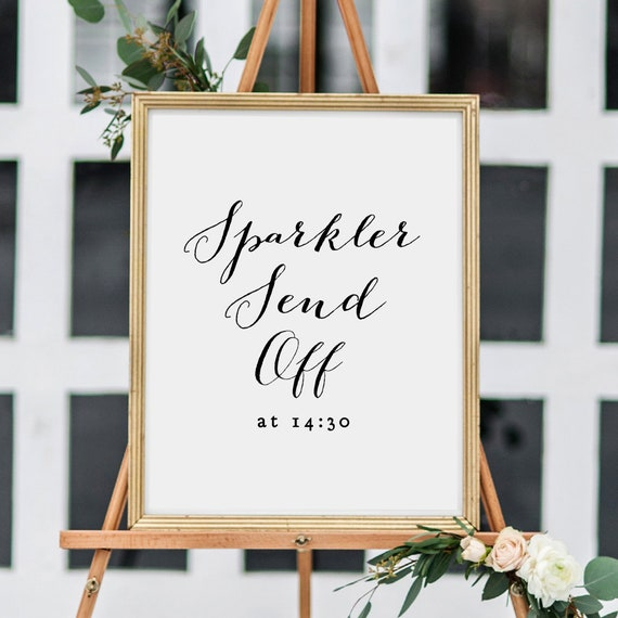 "Sparkler Send Off sign, printable sparkler sign, wedding signs, wedding printable, Sweet Bomb. 18x24"" and 8x10"". Edit in Word or Pages"