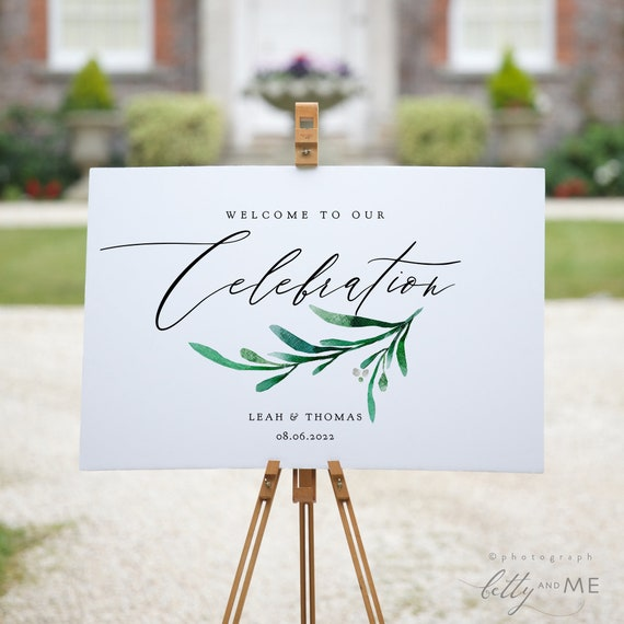 """Celebration Party Welcome Sign, Printable Celebration Welcome Sign, 7 sizes included """"Wedding Greenery"""" Corjl Template, FREE Demo"""