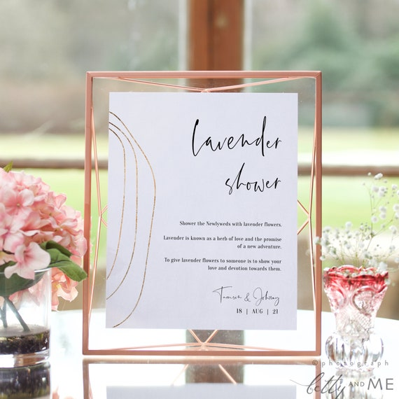 "Abstract - Lavender Toss Sign, Printable Wedding Lavender Confetti Send Off, Ceremony Exit, 5x7"" & 8x10"", Corjl Templates, FREE Demo"