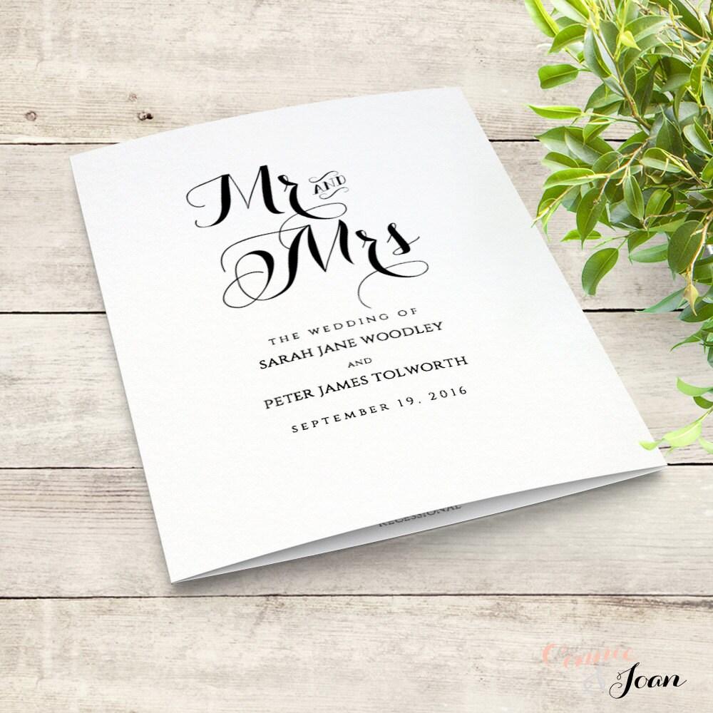 Printable Folded Order of Service Wedding Program. Byron. Edit, print, fold  DIY Editable