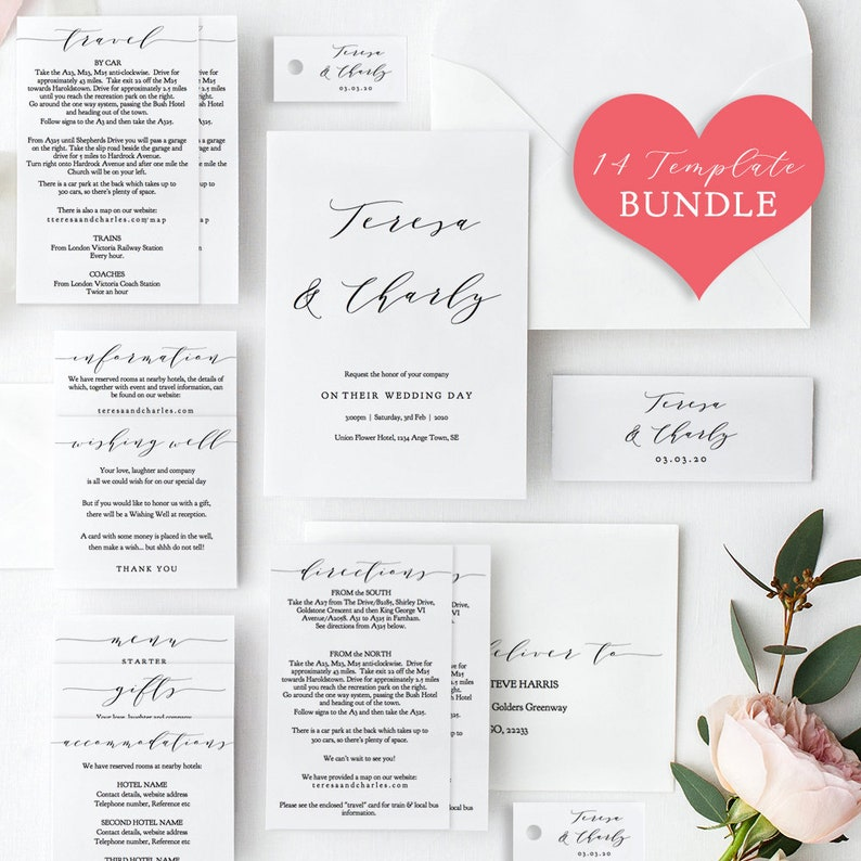Editable PDF 14x Printables for your complete Wedding Invitation set 14 printable templates included for the price of 3! /'Wedding/'