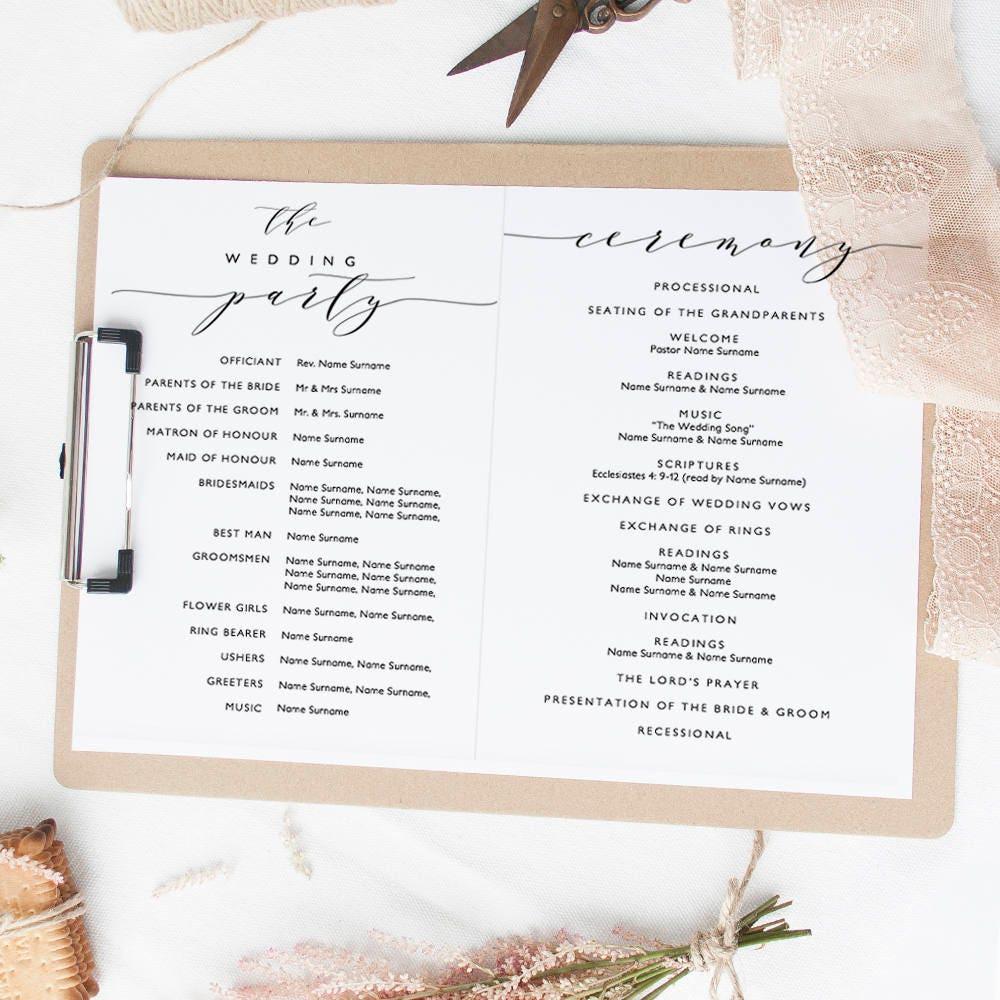 romantic wedding program template  folded order of service