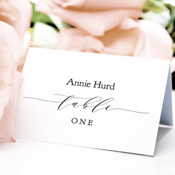 "Table Place Cards Printable PDF Template 3.5x2.5"" Flat & Folded escort guest place cards table setting name cards, ""Wedding"" Editable PDF"