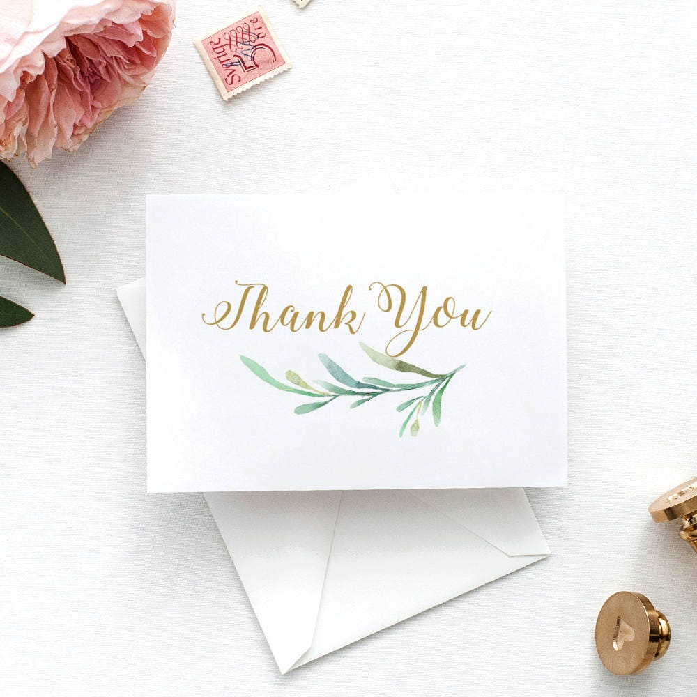 Thank You Card Printable Wedding Thank You Card With Greenery 4
