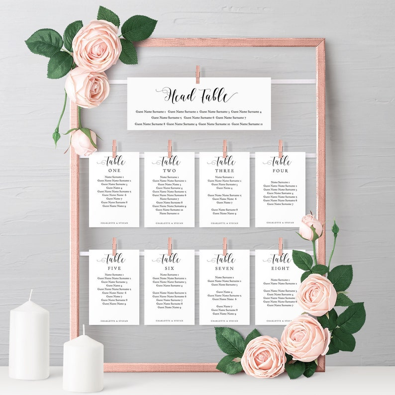 DIY Seating Charts for frame, Printable Head and Top Table, Header and  Seating Card Templates for your frame, 'Mr  & Mrs ' Editable PDF