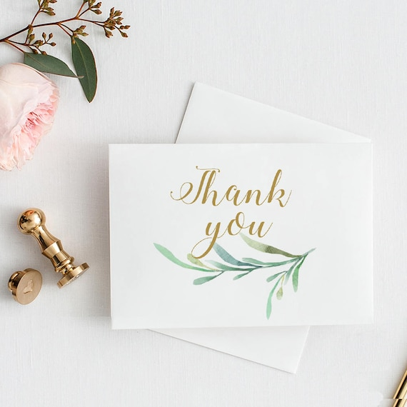 "Thank You Card with Greenery. 3.5x5"" Folded Size, 4 Bar Size and A6 for C6 envelopes. DIY Thank You Card Template. Edit in WORD or PAGES"