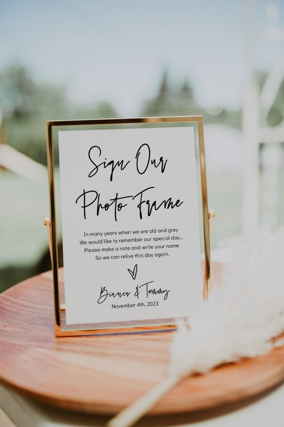 """Sign Our Photo Frame Sign, Printable Guest Book Signs 4x6"""", 5x7"""", 8x10"""", 11x14"""", Modern Minimalist, Corjl Template, FREE Demo 
