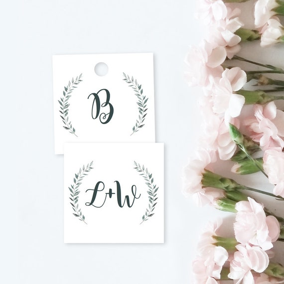 "Initial Favor Tags 2x2"" Square Printable Template Monogram tags, Tags for your invitation set or Favours, Royal Gardens Editable PDF"
