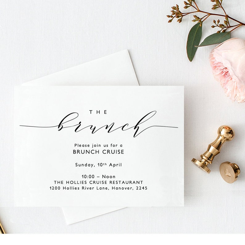 Brunch Invitation Card Printable Wedding Brunch Brunch image 0