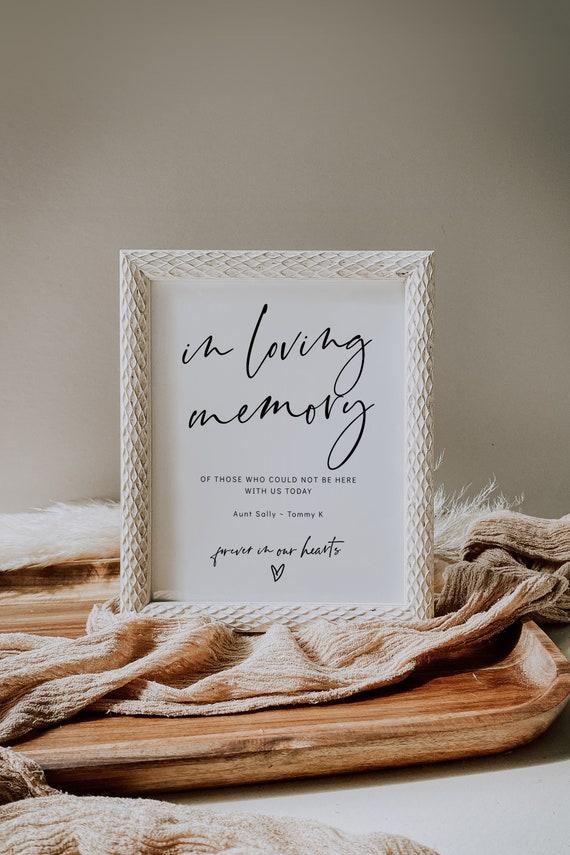 Minimalist In Loving Memory Printable Sign, In Loving Memory Sign for Wedding, Minimalist Wedding, 3 Sizes, Corjl Template, FREE demo | 86