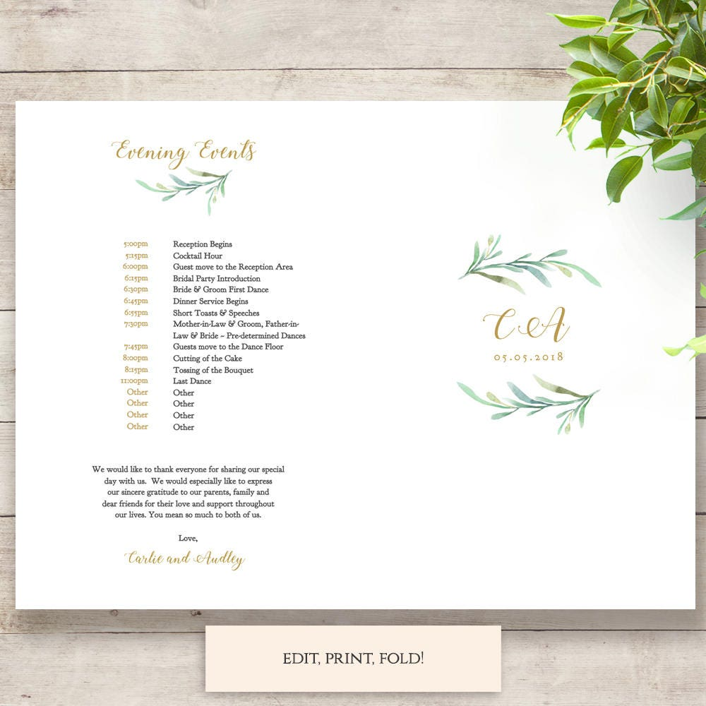 Evening Wedding Reception Food Ideas: Folded Wedding Menu And Evening Events Template, Printable