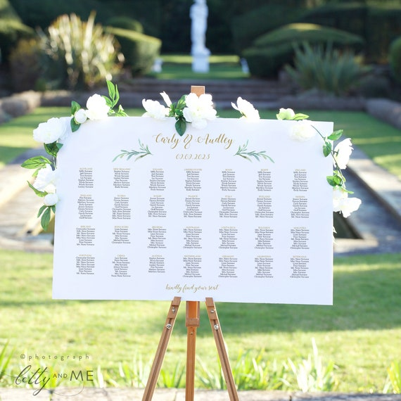 Greenery Wedding Seating Chart Table Plan Templates, 9 sizes, Portrait + Landscape shaped templates included, Corjl Template, FREE Demo