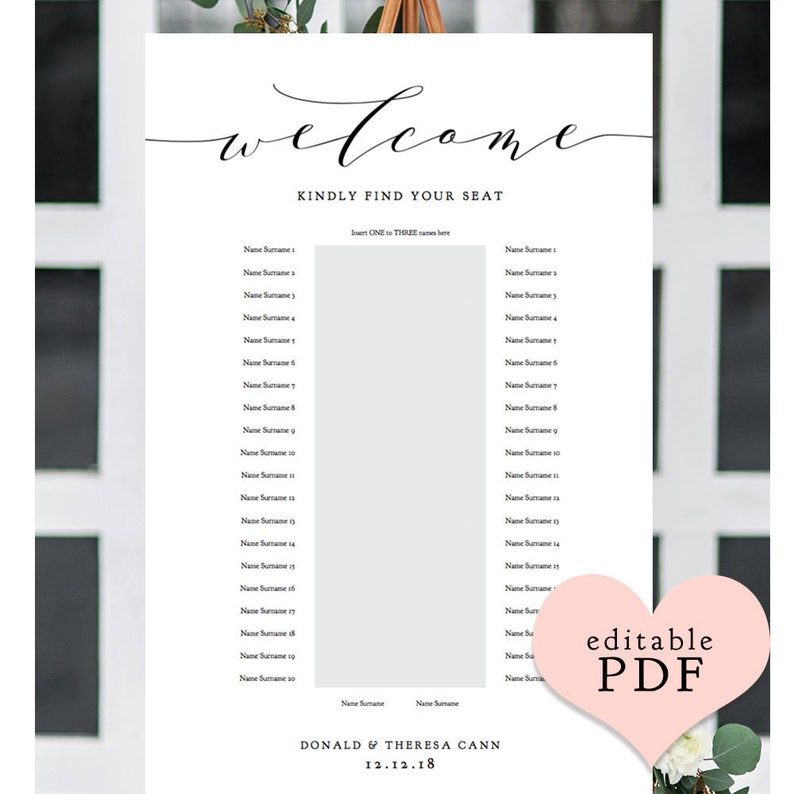 1 Banquet Table Seating Plan Printable Portrait Seating Plan image 0