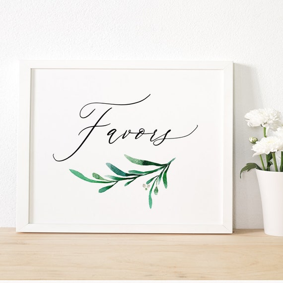 "Greenery Favours and Favors Wedding Sign Printable 8x10"" ""Wedding Greenery"" Wedding Signage, Download and Print - PDF"