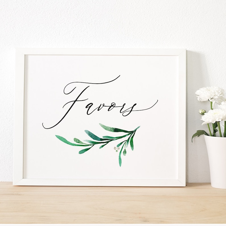 Greenery Favours and Favors Wedding Sign Printable 8x10 image 0