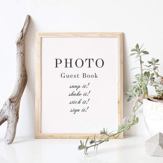 "Elegant Photo guest book sign, Printable snap it, shake it, stick it sign it 8x10"" Sign 'Rosie' Download and Print"