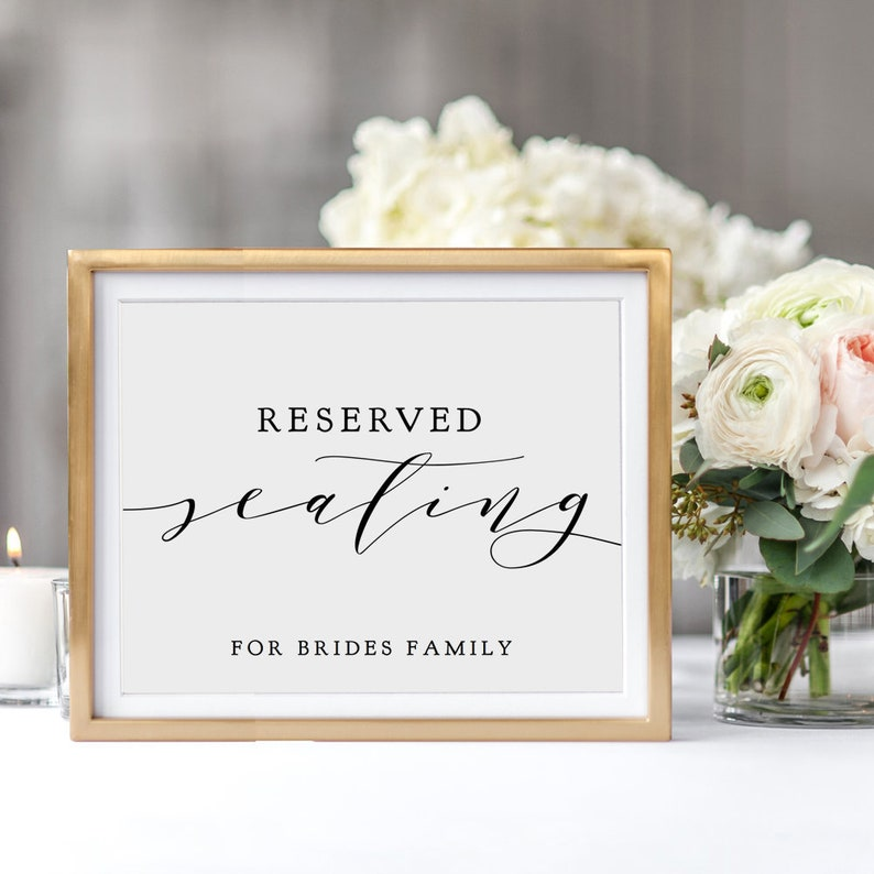 Reserved Seating Sign with message Reserved for sign DIY image 0
