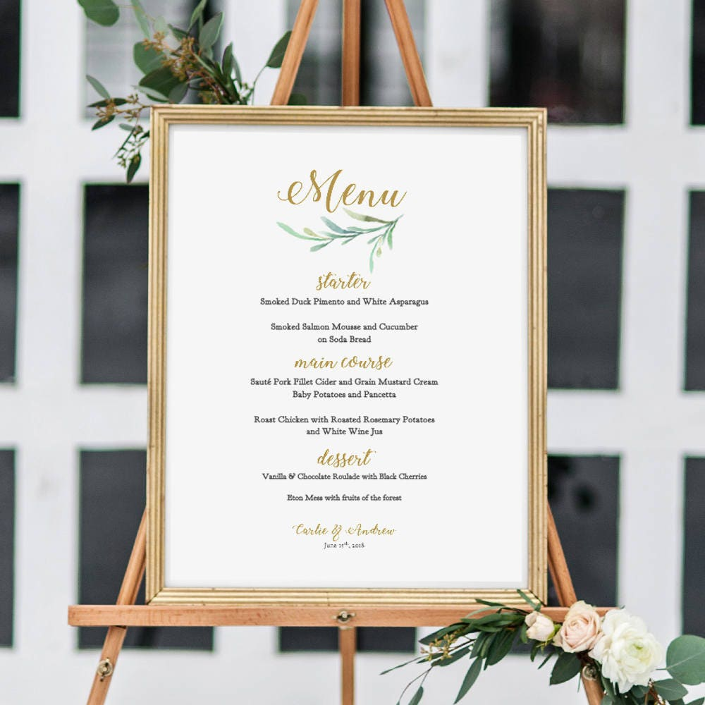 greenery wedding menu template printable bar menu reception menu