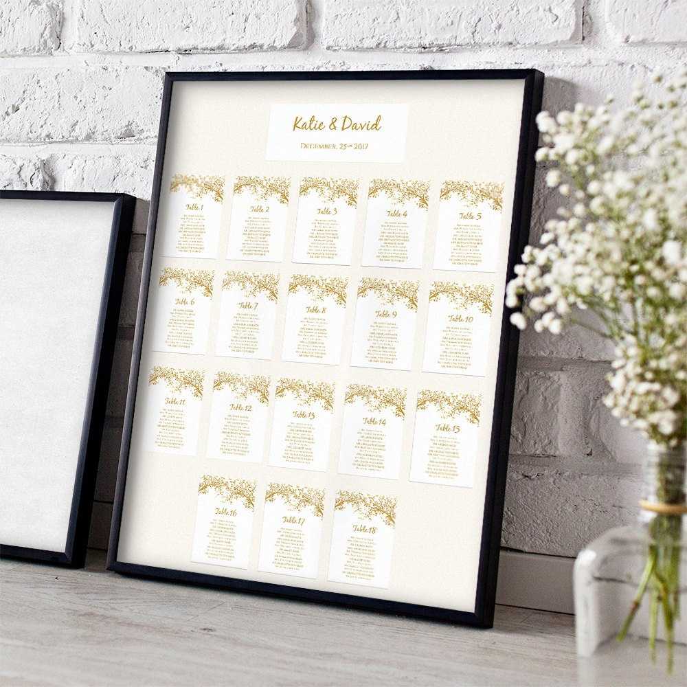 Wedding Seating Card templates, DIY Seating Chart, Any Colour Leaves ...