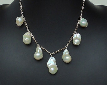Baroque pearls on a sterling silver chain