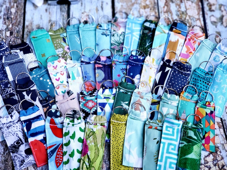 blue and greens chapstick caddy grab bag FREE shipping- assorted prints Chapstick holder Keychain