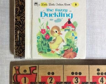 "A Little Little Golden Book 9 ""The Fuzzy Duckling"" by Jane Werner / Miniature Golden Book 3"" / Counting Book / Barnyard Animals / Friendship"