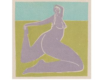 Strong Female- People Illustration - Woman - Art Print -Coloured Lino Print - Hand Printed - Wall Art - Block Print- Digital Print