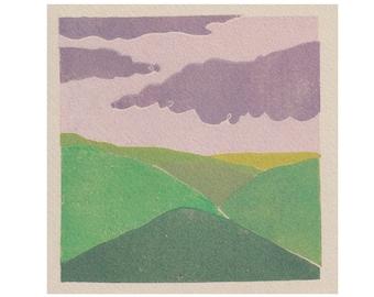 Rolling Hills - Landscape - Countryside - Art Print -Coloured Lino Print - Hand Printed - Wall Art - Block Print - Digital Print