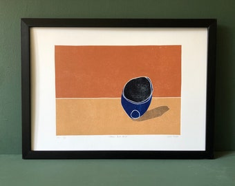 Original Art - Still Life - Coloured Linocut Print - Hand Printed - Wall Art - Block Print  - Vessels - Ceramics - Bowl