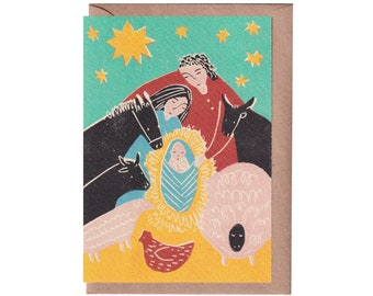 Christmas Card - Nativity - Handprinted Card - Art Card - Greeting Card  - Holidays Card - Love - Baby Jesus