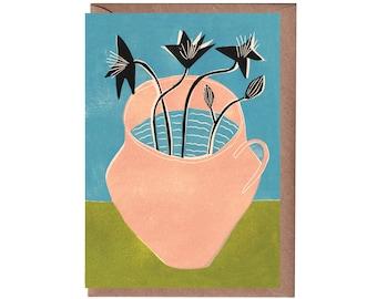 Art Card - Greeting Card - Still Life - Birthday Card - Plant - Water Jug - Flowers