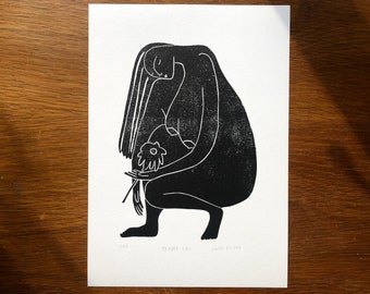 Original Art - Tender Lass - Portrait - Coloured Lino Print - Hand Printed - Wall Art - Block Print - Female Nude Print- Woman Print