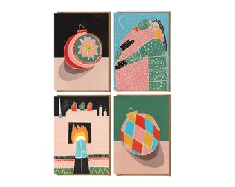 Christmas Card - Handprinted Card - Art Card - Greeting Card - Still Life - Holidays Card - Card Pack - Card Set