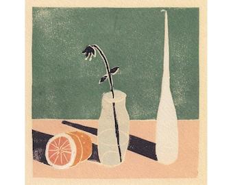 Grapefruit Still life - Fruit Art - Still Life - Art Print -Coloured Lino Print - Hand Printed - Wall Art - Block Print- Digital Print