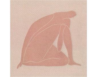 Pensive Silence - People Illustration - Woman - Art Print -Coloured Lino Print - Hand Printed - Wall Art - Block Print- Digital Print