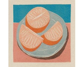 Sliced Orange - Fruit Illustration - Food Art - Art Print -Coloured Lino Print - Hand Printed - Wall Art - Block Print- Digital Print