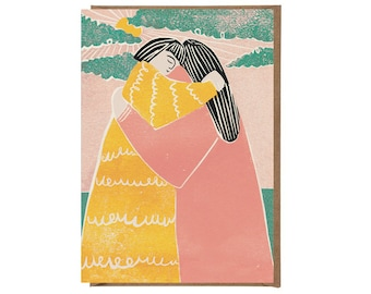 Warm Hugs - Hug Card - Handprinted Card - Art Card - Greeting Card - Hugs - Love Card - Love