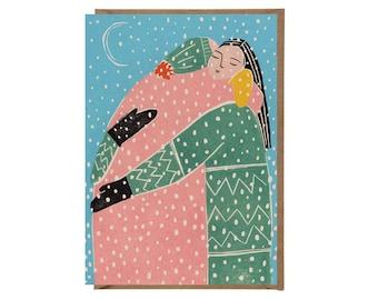 Christmas Card- Hug Card - Greeting Card - Hugs - Holidays Card - Love - Art Card